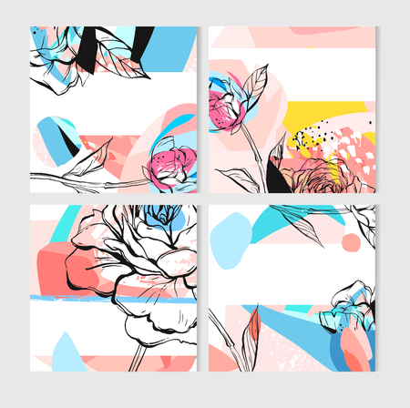 Hand drawn vector abstract creative unusual save the date cards template collection set with graphic peony flowers in pastel colors. Hand made textures for wedding, anniversary, birthday, party invitations.