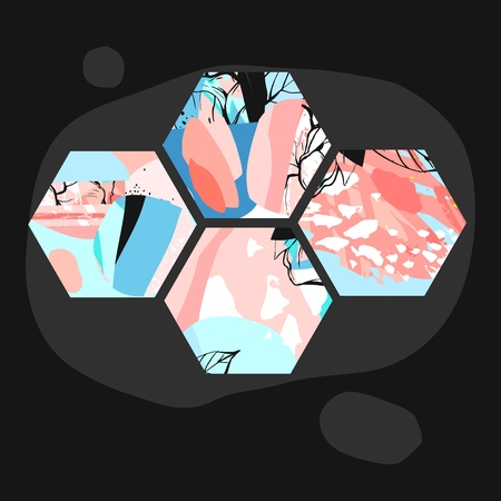 Hand drawn vector artistic universal textured abstract composition with hexagon shapes. Hand made textures and nature motifs in pastel colors isolated on black background. Unusual trendy modern design. Illustration