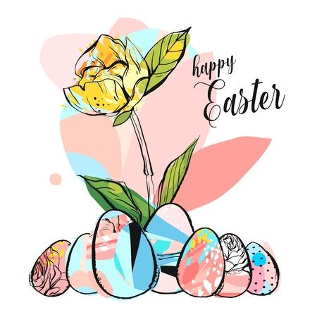 白い背景に隔離されたパステルカラーの抽象的なブラシ塗装テクスチャー卵と手描きのベクトル抽象創造的なハッピーイースターの挨拶イラスト。