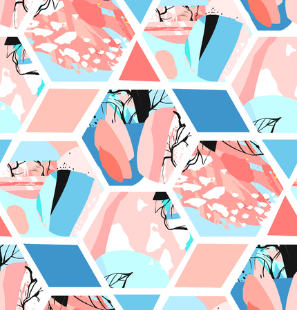 Hand drawn vector universal textured abstract seamless pattern with hexagon shapes,textures and nature floral motifs in pastel colors isolated on white background.Unusual trendy spring design Archivio Fotografico - 95826015