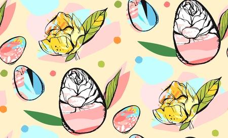 Dibujado a mano diseño abstracto patrón de vector feliz navidad creativo sin fisuras feliz con huevos de pascua y flores de primavera en colores pastel aislados en el fondo blanco ilustración gráfica inusual inusual . Foto de archivo - 96043452