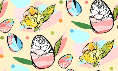 Hand drawn vector abstract creative universal Happy Easter seamless pattern design with Easter eggs and spring flowers in pastel colors isolated on yellow background .Spring unusual graphic decoration.