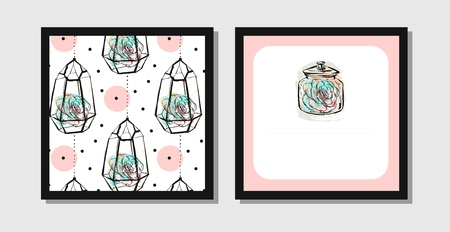 Hand drawn vector abstract creative unusual postcards or save the date cards template collection set with succulents in terrarium isolated on white background. Wedding, anniversary, birthday and invitation. Illustration