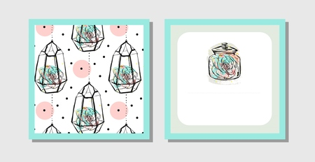 Hand drawn vector abstract creative unusual postcards or save the date cards template collection set with succulents in terrarium isolated on white background. Wedding, anniversary, birthday and invitations.