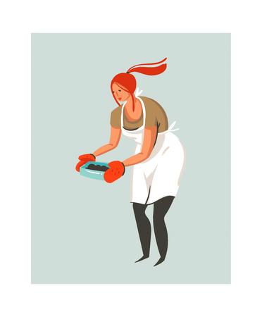 Hand drawn vector abstract modern cartoon cooking time illustrations icon with cooking chef woman in white apron preparing food. Isolated on white background. Food cooking illustrations concept design. Stockfoto - 96282811