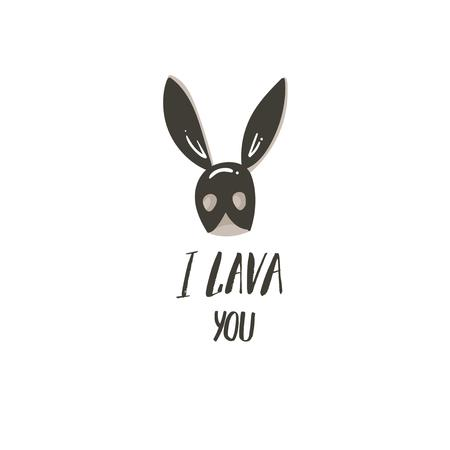 Hand drawn vector abstract modern cartoon Happy Valentines day concept illustrations card with bunny mask and handwritten modern ink calligraphy text I lava you isolated on white background