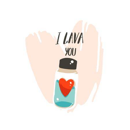 Hand drawn vector abstract modern cartoon Happy Valentines day concept illustrations card with cute my bottle and handwritten modern ink calligraphy text I Lava you isolated on white background