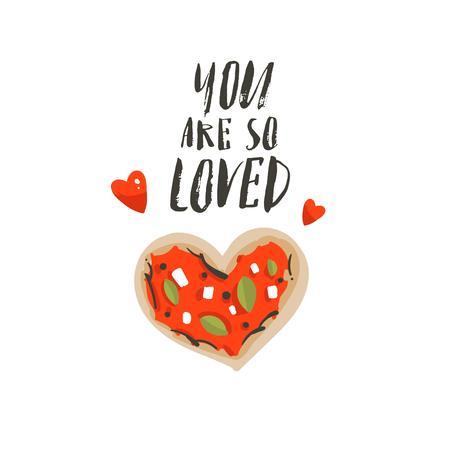 Hand getrokken vector abstracte cartoon Happy Valentijnsdag concept illustraties kaart met pizza hart vorm en handgeschreven moderne inkt kalligrafie tekst Je bent zo geliefd. Geïsoleerd op witte achtergrond Stockfoto - 96282816