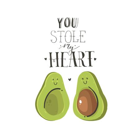 Hand drawn vector abstract cartoon Happy Valentines day concept illustrations card with avocado couple and handwritten modern ink calligraphy text You stole my heart isolated on white background