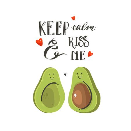 Hand drawn vector abstract cartoon Happy Valentines day illustrations card with avocado couple, hearts and handwritten modern ink calligraphy text keep calm and kiss me. Isolated on white background.