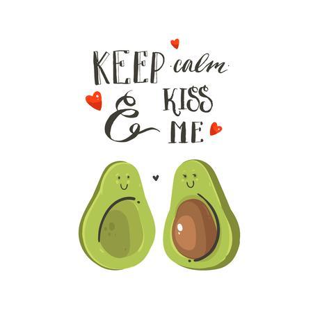 Hand gezeichnete Vektorzusammenfassungskarikatur glückliche Valentinstagillustrationskarte mit Avocadopaaren, Herzen und handgeschriebenem modernem Tintenkalligraphietext behalten Ruhe und küssen mich. Isoliert auf weißem hintergrund