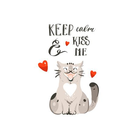 Hand drawn vector abstract cartoon Happy Valentines day concept illustrations card with cute cat, heart and handwritten modern ink calligraphy Keep calm and kiss me. Isolated on white background.