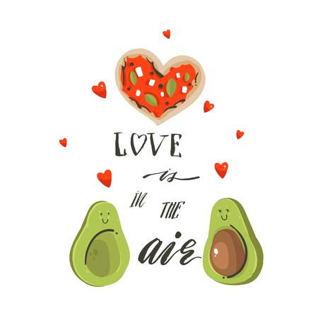 Hand drawn vector abstract Happy Valentines day concept illustrations card with avocado couple,pizza and handwritten modern ink calligraphy text Love is in the air isolated on white background Ilustração