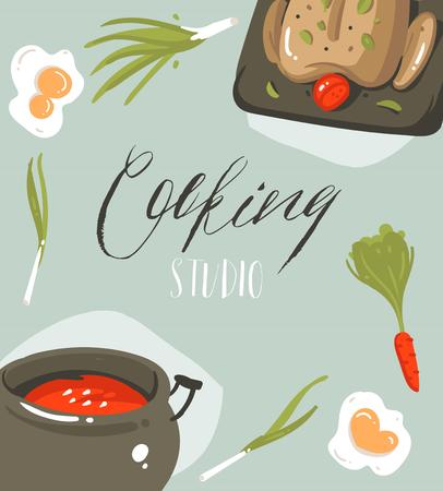 Hand drawn vector abstract modern cartoon cooking studio illustrations poster card with food,vegetables and handwritten calligraphy Cooking studio isolated on grey background Illustration