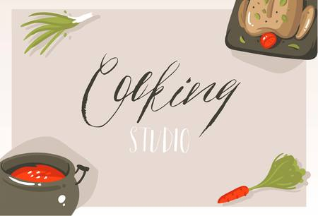 Hand drawn vector abstract modern cartoon cooking class concept illustrations poster card with food,vegetables and handwritten calligraphy Cooking studio isolated on grey background