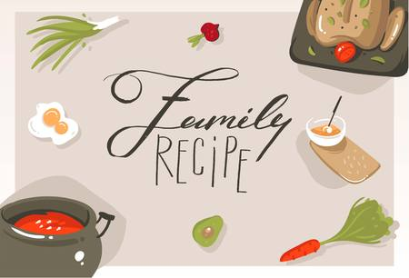 Hand drawn vector abstract modern cartoon cooking class concept illustrations poster card with food,vegetables and handwritten calligraphy Family recipe isolated on grey background Illustration