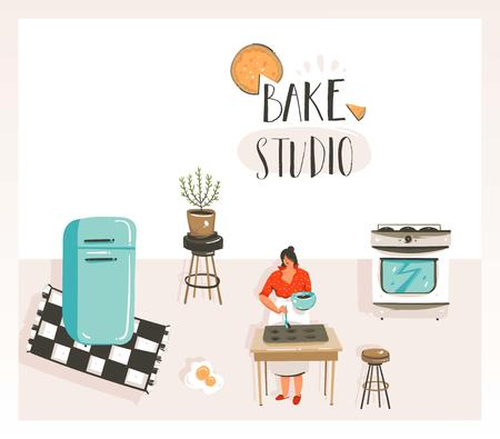 Hand drawn vector abstract modern cartoon cooking class illustrations poster with retro vintage woman chef,refrigerator and Bake studio handwritten modern calligraphy isolated on white background.