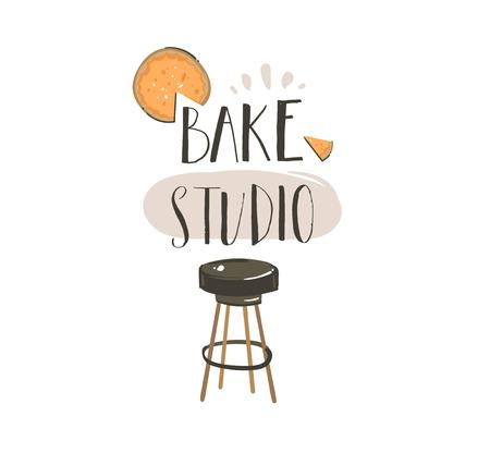Hand drawn vector abstract modern cartoon cooking time fun illustrations icons lettering logo design with cooking equipment,cheesecake and Bake studio calligraphy isolated on white background.