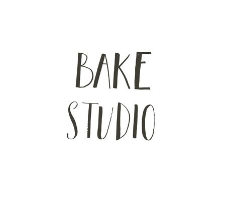 Hand drawn vector abstract modern cartoon cooking time fun illustrations icons lettering logo design with Bake studio calligraphy isolated on white background.