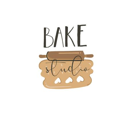 Hand drawn vector abstract modern cartoon cooking time fun illustrations sign lettering logo design with rolled up cookies dough and Bake studio handwritten calligraphy isolated on white background  イラスト・ベクター素材