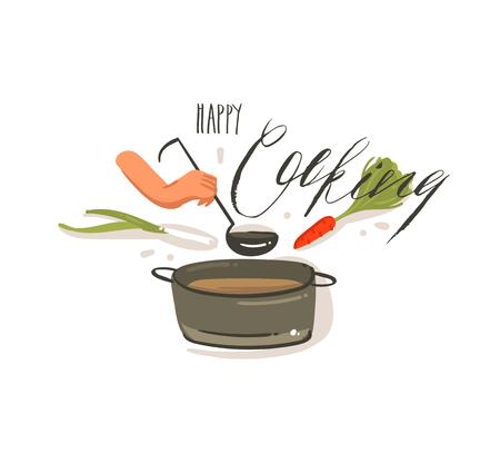 Hand drawn vector abstract cartoon cooking illustrations label with big pan of cream soup,vegetables and woman hands holding scoop isolated on white background.Happy cooking handwritten calligraphy