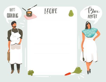 Bergeben Sie die gezogene moderne Karikatur der Vektorzusammenfassung, die das Studioillustrationsrezept-Karte templete mit den Leuten, Lebensmittel, Gemüse und handgeschriebener Kalligraphie kocht, die auf weißem Hintergrund lokalisiert werden. Standard-Bild - 96234766