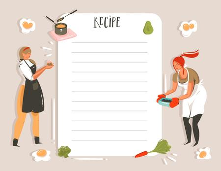 Hand drawn vector abstract modern cartoon cooking studio illustrations recipe card planner templete with girls,food,vegetables and handwritten calligraphy isolated on white background.