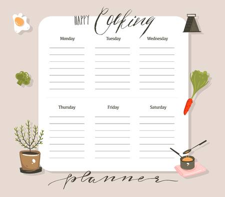 Hand drawn vector abstract modern cartoon cooking studio class illustrations weekly cooking planner and recipe card templete with handwritten calligraphy quotes isolated on white background.