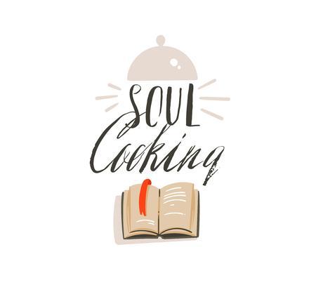 手描きベクトル抽象現代漫画の料理時間の楽しいイラストは、白い背景に隔離された調理器具、料理本やソウル料理書道とロゴデザインをアイコン