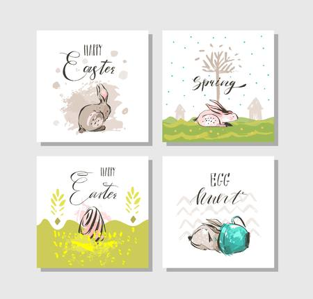 Hand drawn vector abstract graphic Scandinavian collage Happy Easter cute illustrations greeting cards template collection