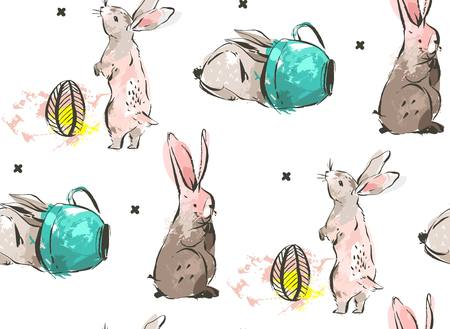Hand drawn vector abstract sketch graphic Scandinavian freehand textured modern collage Happy Easter cute simple bunny illustrations seamless pattern
