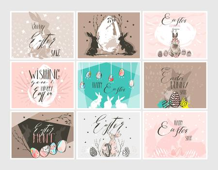 Hand drawn vector abstract graphic Scandinavian collage Happy Easter cute illustrations greeting cards template Ilustração
