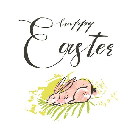 Hand drawn vector abstract graphic scandinavian collage Happy Easter cute simple bunny illustrations greeting card and handwritten modern calligraphy Happy Easter isolated on white background.