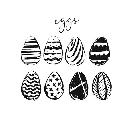 Hand drawn vector abstract sketch ink graphic scandinavian shabby Happy Easter cute simple scandinavian eggs illustrations elements design isolated on white background.