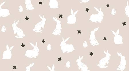 Hand drawn vector abstract sketch graphic scandinavian freehand textured modern collage Happy Easter cute simple bunny illustrations seamless pattern and Easter eggs isolated on white background. Illustration