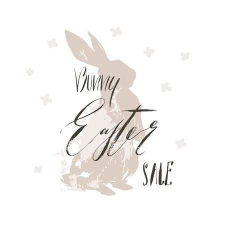 Hand drawn vector abstract sketch graphic scandinavian collage Happy Easter cute simple bunny illustrations greeting card and handwritten calligraphy Bunny Easter Sale isolated on white background. Stock Photo