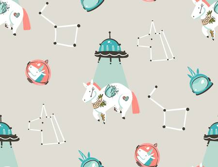 Hand drawn vector abstract graphic creative artistic cartoon illustrations seamless pattern with astronaut unicorns with old school tattoo,stars,planets and spaceship isolated on pastel background