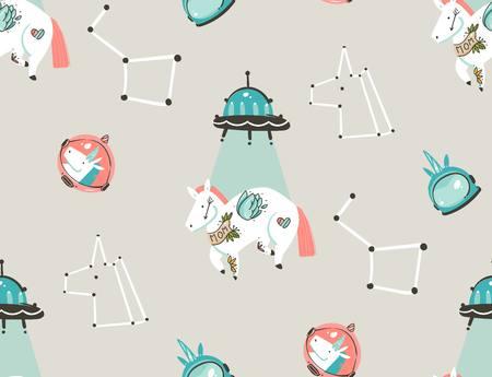Bergeben Sie gezogenes nahtloses Muster der grafischen kreativen künstlerischen Karikaturillustrationen der Vektorzusammenfassung mit Astronauteneinhörnern mit der alte Schultätowierung, -sternen, -planeten und -raumschiff, die auf Pastellhintergrund lokalisiert werden Standard-Bild - 99286191