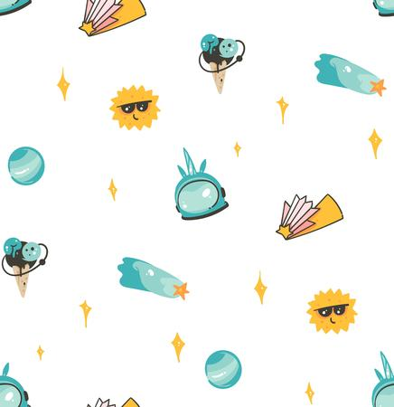 Hand drawn vector abstract graphic creative artistic cartoon illustrations scandinavian seamless pattern with comets,planets,stars,sun and unicorn astronaut isolated on white background. Illustration