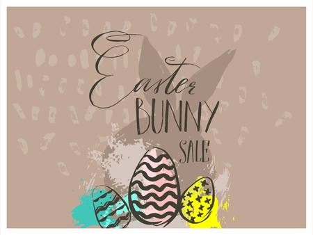 Easter bunny sale poster template with abstract of bunny silhouette and eggs Illustration