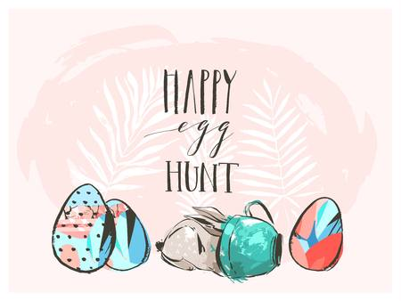 Hand drawn vector abstract graphic scandinavian collage Happy Easter cute simple bunny,eggs illustrations greeting card and Happy Egg hunt handwritten calligraphy isolated on pink pastel background