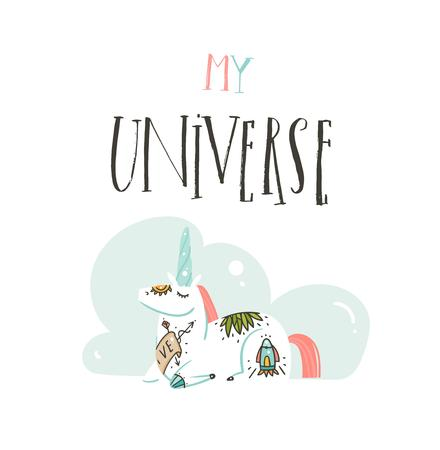 Hand drawn vector abstract graphic creative handwritten calligraphy phase My Universe with cartoon space tattooed unicorn illustrations isolated on white background.Design for Birthday and Baby Shower 向量圖像