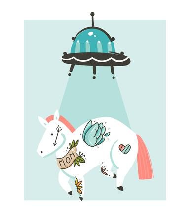 Hand drawn vector abstract graphic creative cartoon illustrations icon with simple horse with old school tattoo which was stolen by aliens isolated on white background
