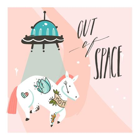 Hand drawn vector abstract graphic creative artistic cartoon illustrations poster background with flying horse with old school tattoos, alien spaceship and handwritten calligraphy Out of Space Illustration