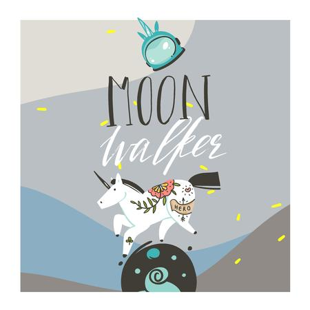 Hand drawn vector abstract graphic creative artistic cartoon illustrations poster background with astronaut unicorns with old school tattoo,handwritten calligraphy isolated on blue background Illustration