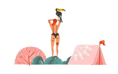 Hand drawn vector abstract cartoon graphic summer time illustrations with tent,stones,coral reefs,toucan and beauty bohemian girl characters in swimsuit isolated on white background