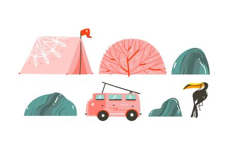 Hand drawn vector abstract cartoon graphic summer time illustrations border with tent,stones,coral reefs,camper van bus and toucan isolated on white background