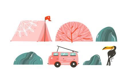 Main dessinée vecteur abstrait caricature graphique heure d'été illustrations frontière avec tente, pierres, récifs coralliens, bus de camping-car et toucan isolé sur fond blanc Banque d'images - 100120142