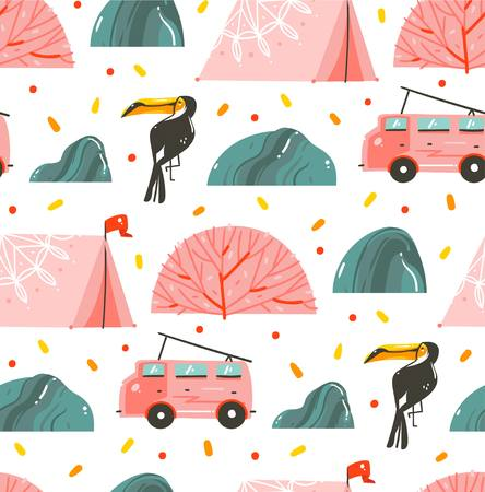 Hand drawn vector abstract cartoon graphic summer time illustrations collection seamless pattern with tent,stones,coral reefs,camper van bus and toucan isolated on white background Standard-Bild - 100120145