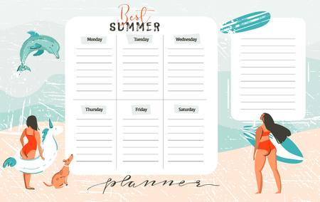 Hand drawn vector abstract exotic summer time funny Best Summer weekly organize page template with surfer girls,surfboard,dog,unicorn float fing buoy isolated on on on blue ocean waves water